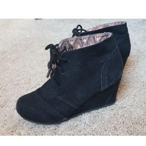 Girls black wedge heels